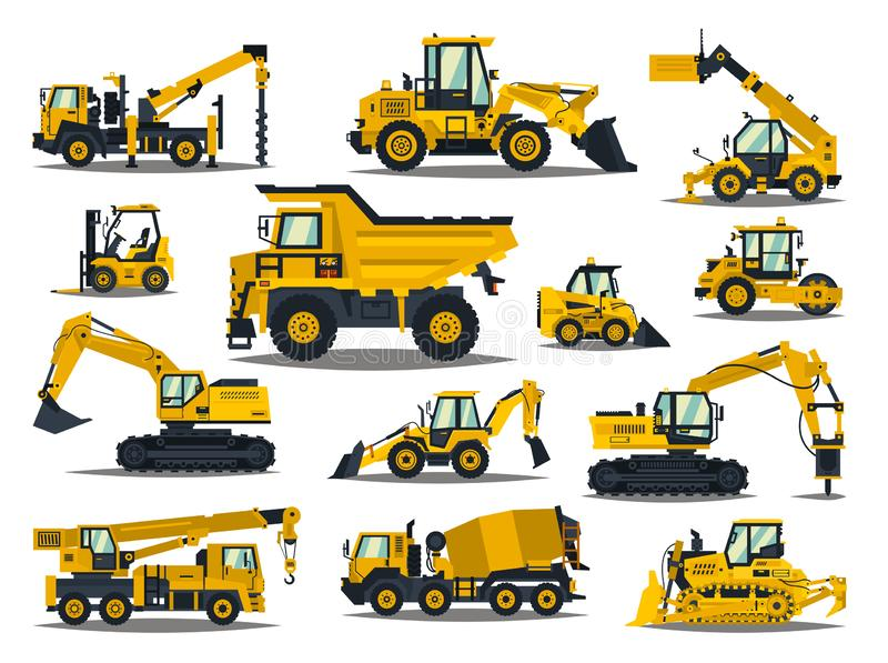 Big set of construction equipment. Special machines for the construction work. Forklifts, cranes, excavators, tractors stock image