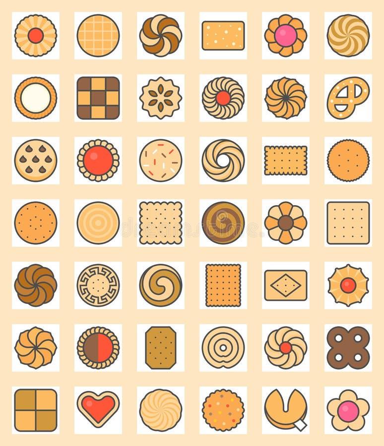 Big set of cookies, biscuit and cracker stock illustration