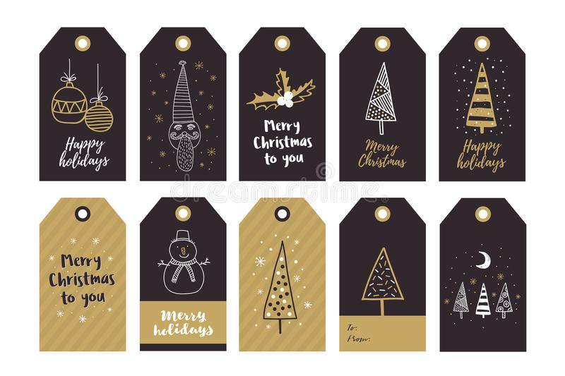 Big set of creative gift tags with hand drawing elements for Happy New Year and Christmas. vector illustration