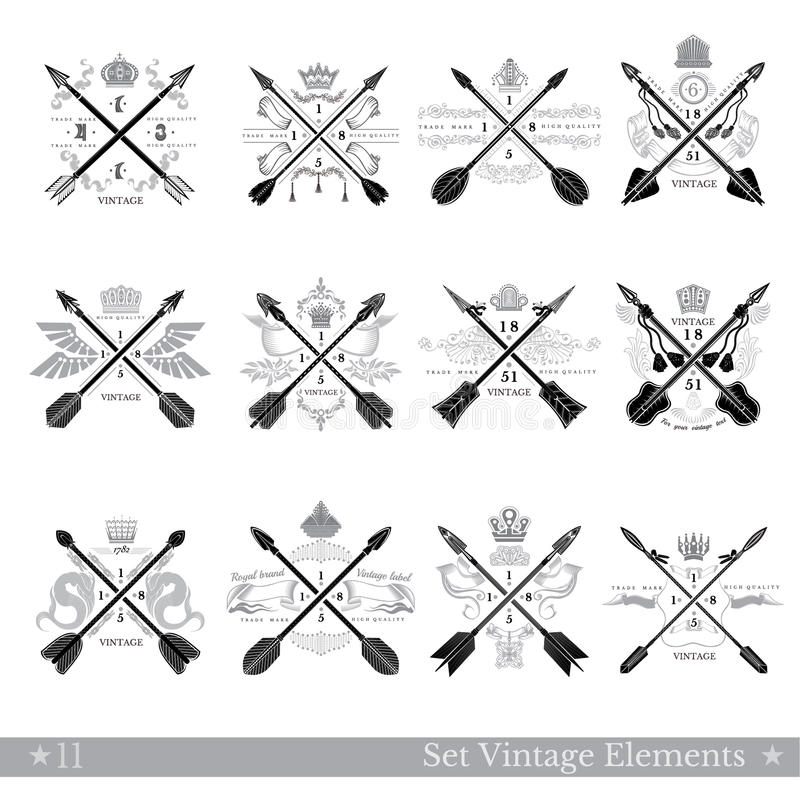Big set of cross arrows with decorative element royalty free illustration