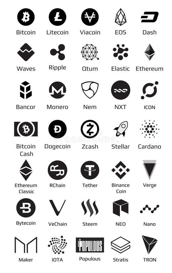 Big set of crypto currency logo coins Bitcoin, Nem, Dash, Litecoin, Monero, Ethereum, Dash, Ripple, and other stock illustration