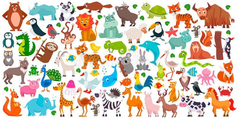 Big set of cute cartoon animals royalty free illustration