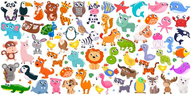 Big set of cute cartoon animals. Vector illustration. Big set of cute cartoon animals royalty free stock image