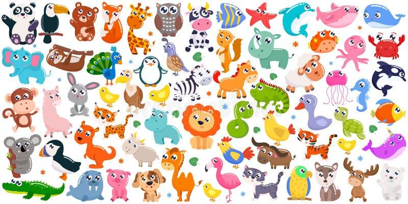 Big set of cute cartoon animals. Vector illustration. Big set of cute cartoon animals stock photography
