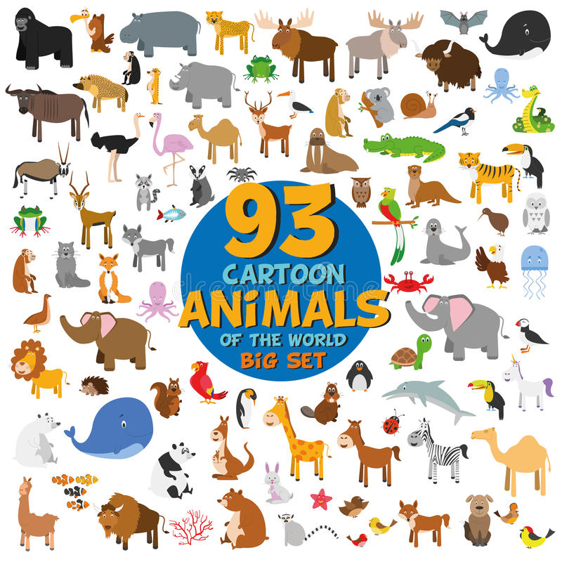 Big set of 93 cute cartoon animals of the world. royalty free illustration