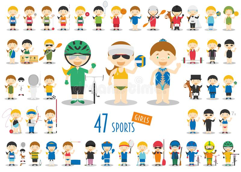 Big Set of 47 cute cartoon sport characters for kids. Funny cartoon girls. stock illustration