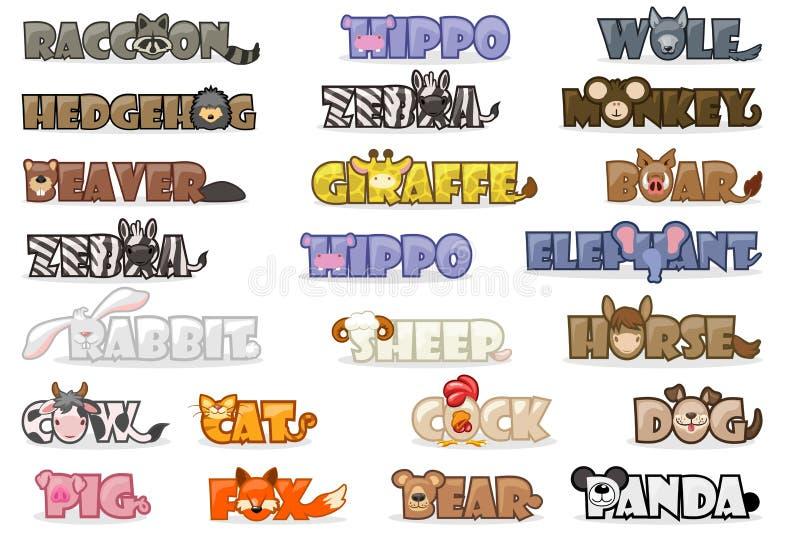 Big set cute cartoon text name animals, funny font stock illustration