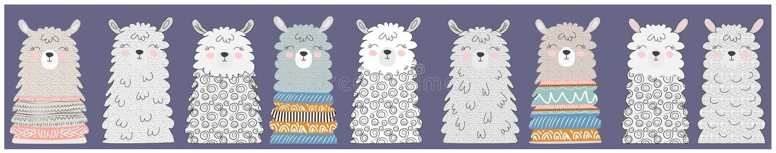 Big set of cute funny different llamasHand drawn vector illustration. Scandinavian style flat design royalty free stock image