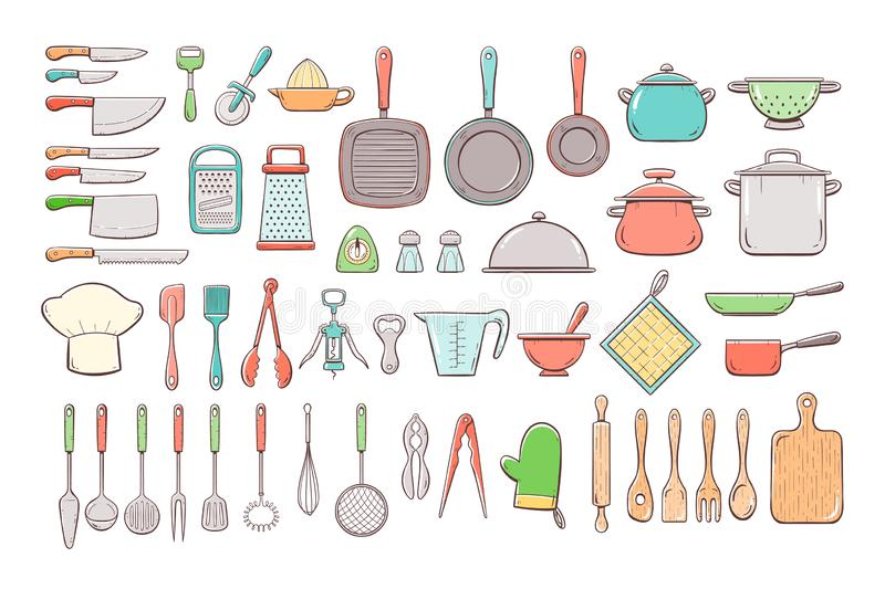 Hand drawn kitchen supplies big collection stock illustration