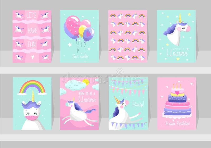 Big set of cute unicorn cards. Motivational and inspirational po. Sters with unicorns. Born to be a Unicorns. Dream like a unicorn. Happy Birthday. Vector vector illustration
