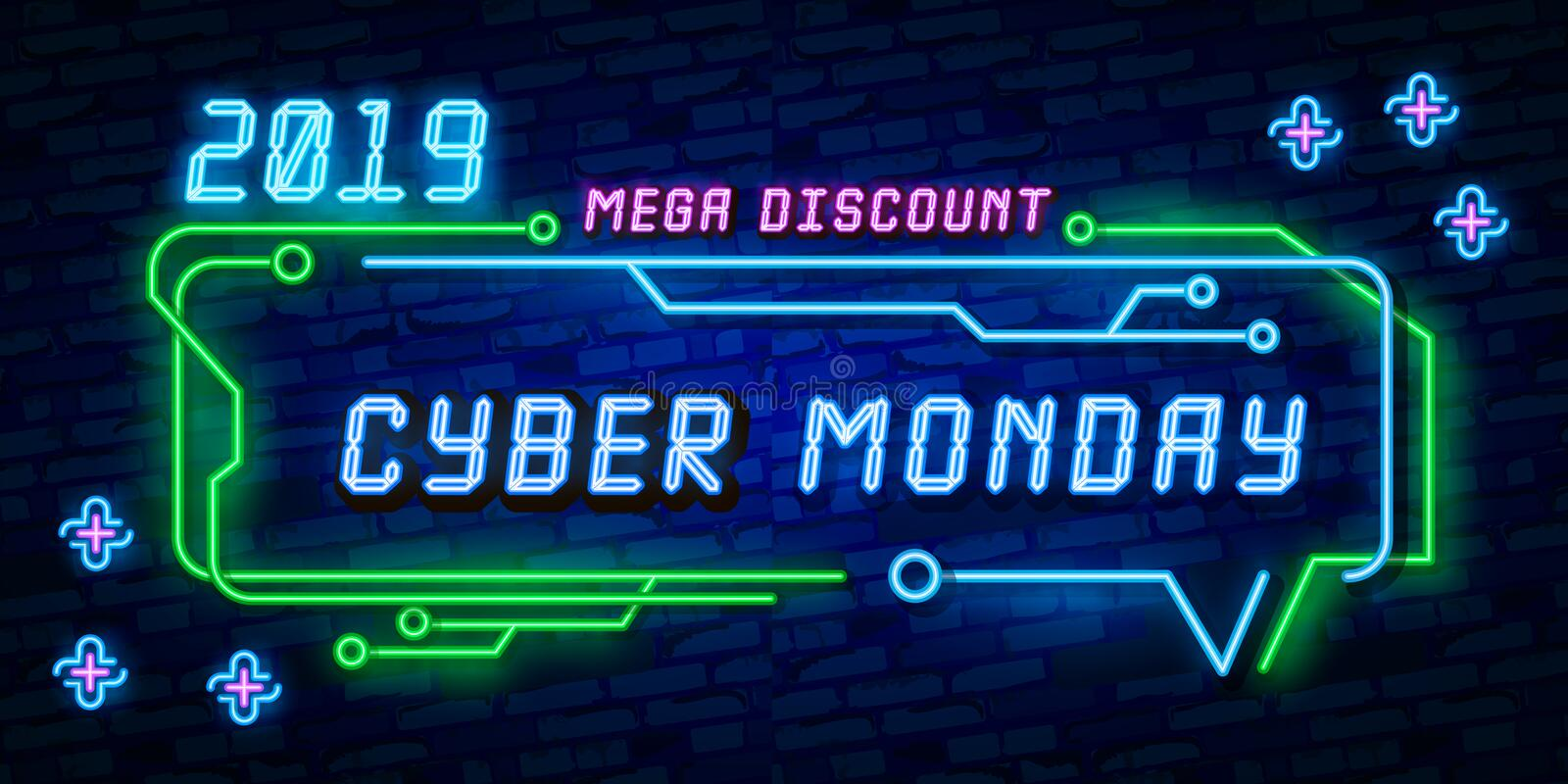 Big set Cyber Monday, Vector illustration discount sale concept in neon style, online shopping and marketing concept. Neon Light s royalty free illustration
