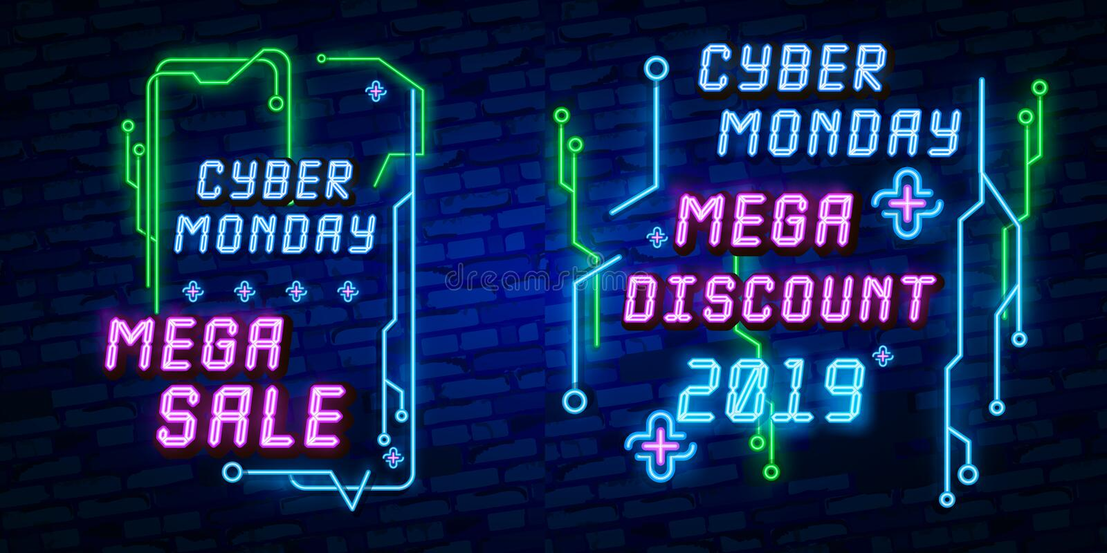 Big set Cyber Monday, Vector illustration discount sale concept in neon style, online shopping and marketing concept. Neon Light s stock illustration