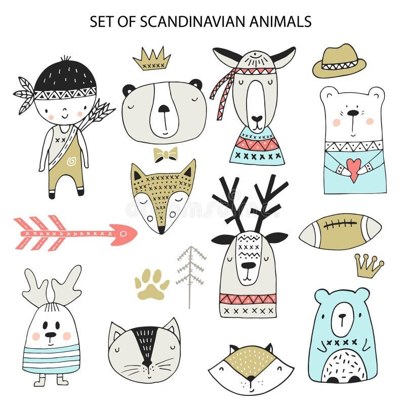 Big set of diferent cartoon animals. Cute handdrawn kids clip art collection. Vector illustration royalty free illustration