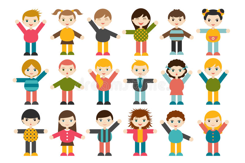 Big set of different cartoon children figures. Boys and girls on a white background. Minimalistic flat modern icon set portraits. stock illustration