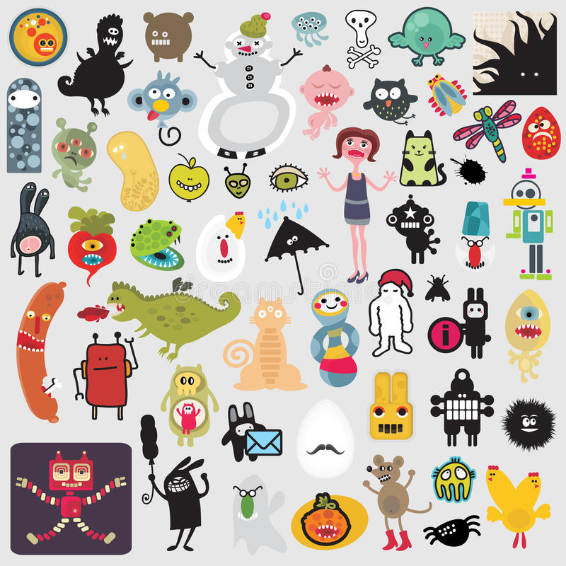 Big set of different cute monsters #2. vector illustration