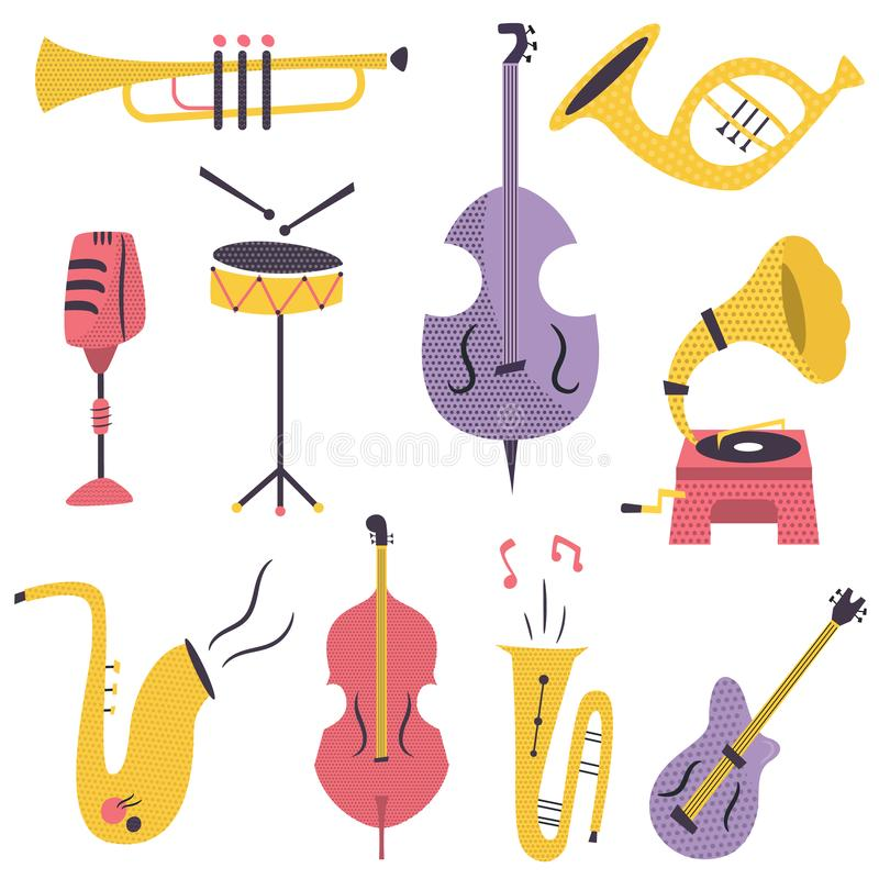 Big set of different musical instruments and devices. Big set of different musical instruments drums, contrabass, guitar, trumpet, tuba stock illustration