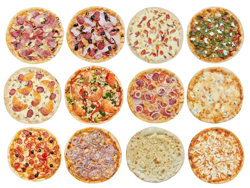 Set of different pizzas. Big set of different pizzas. Isolated on white background. Top view. Collection for menu stock images