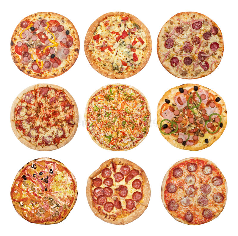 Big set of different pizzas stock images