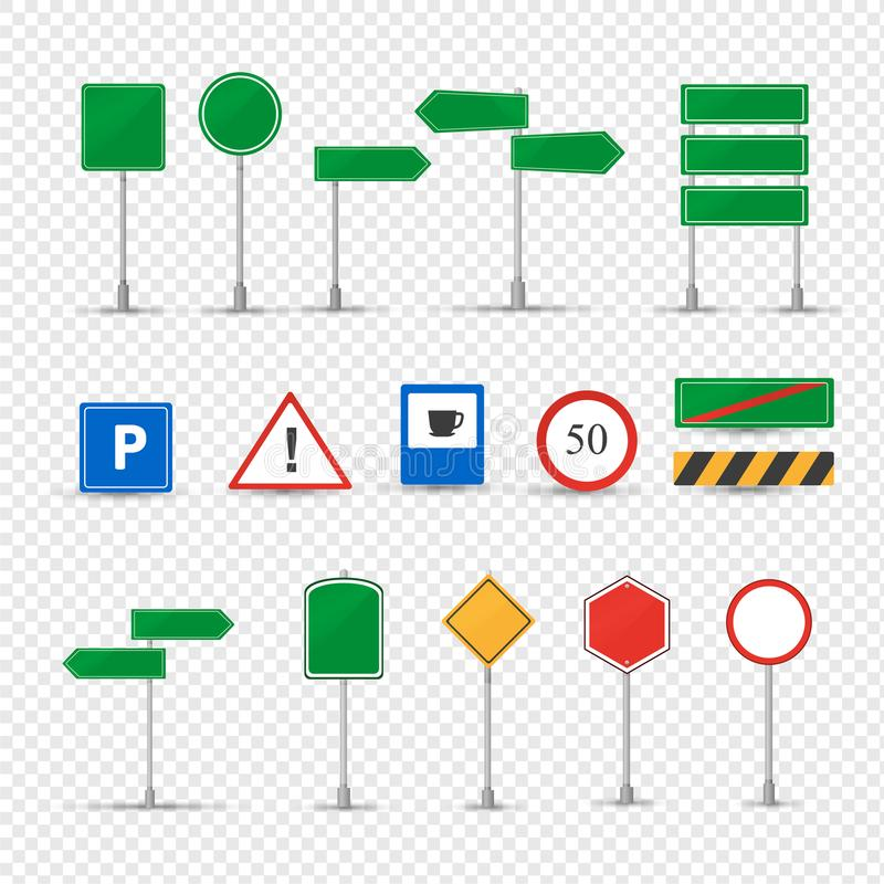 Big set different road signs. Prescriptive, prohibitory, information, priority. stock illustration