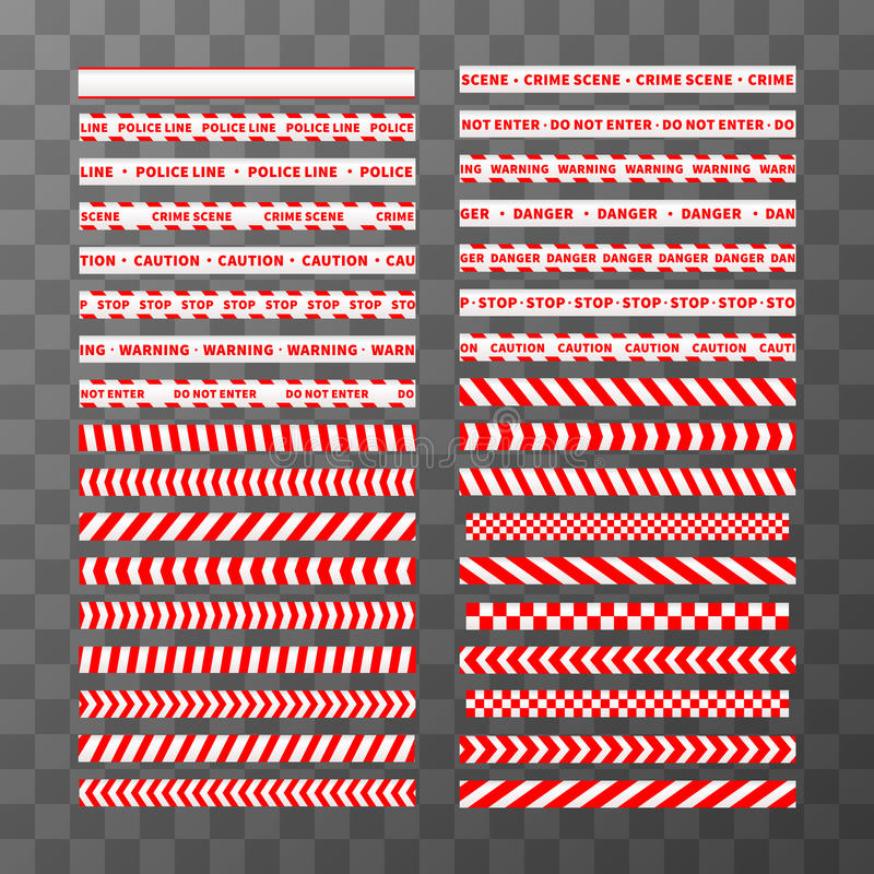 Big set of different seamless red and white caution tapes vector illustration