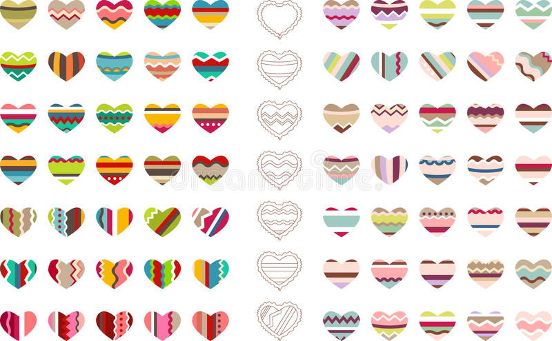 Big set with different stylized hearts vector illustration