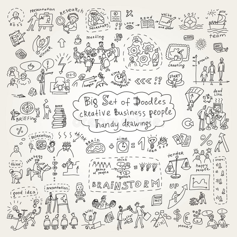 Big set of doodles creative business people icons stock illustration