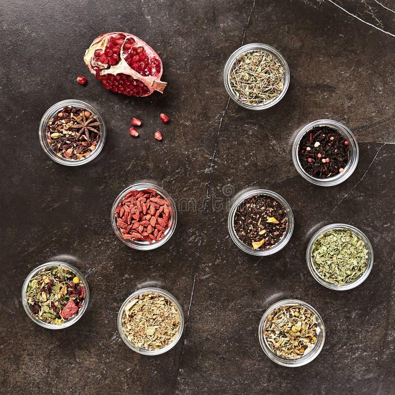 Big Set of Dried Green, Black and Herbal Tea Mixes royalty free stock photo