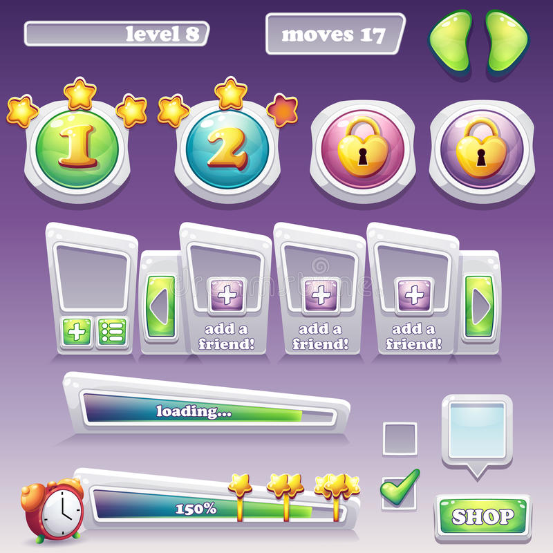 Big set of elements for computer games and web design. Progress. Bar, buttons and more royalty free illustration