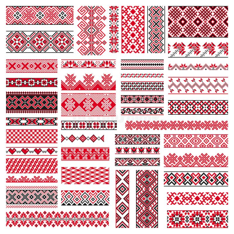 Big set of embroidery patterns vector illustration