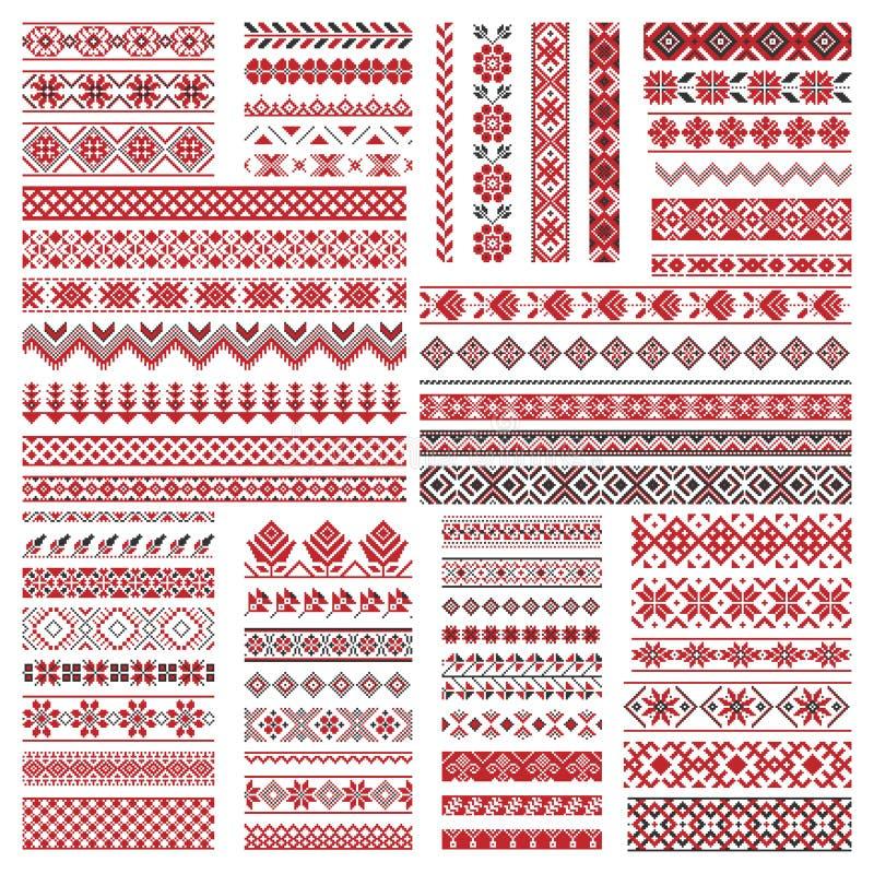 Big set of embroidery patterns stock illustration