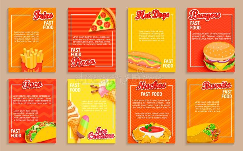 Big set of fast food shop flyers,banners stock illustration