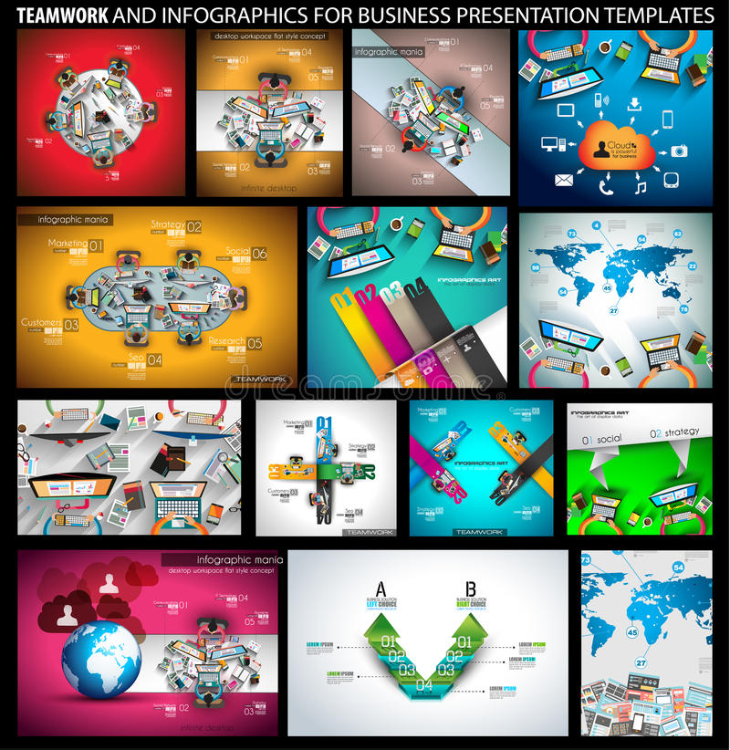 Big SET of Flat Style Design Concepts for business strategy and career royalty free illustration