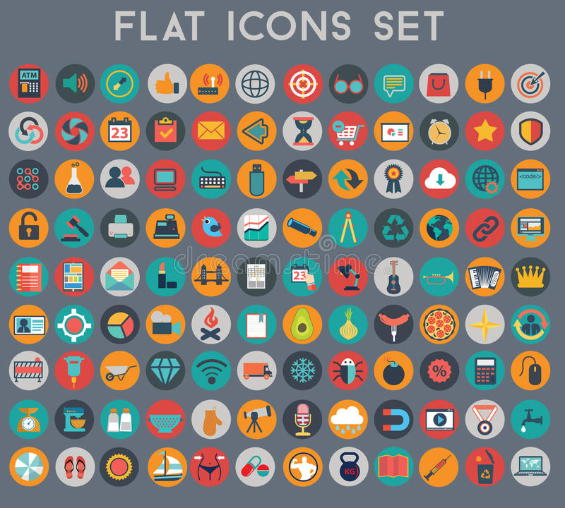 Big set of flat vector icons with modern colors stock illustration