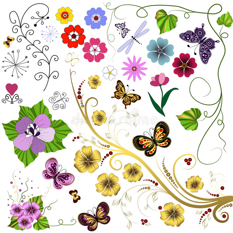 Download Big Set Flowers And  Butterflies Stock Vector - Illustration: 14602524