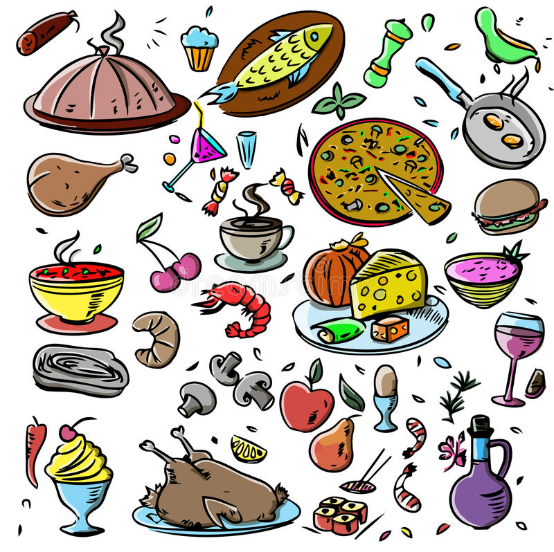 Big set: food icons various delicious dishes . Traditional cuisine. Main course. Healthy junk food, seafood, fast food. Drinks. Isolated meals illustrations on royalty free illustration