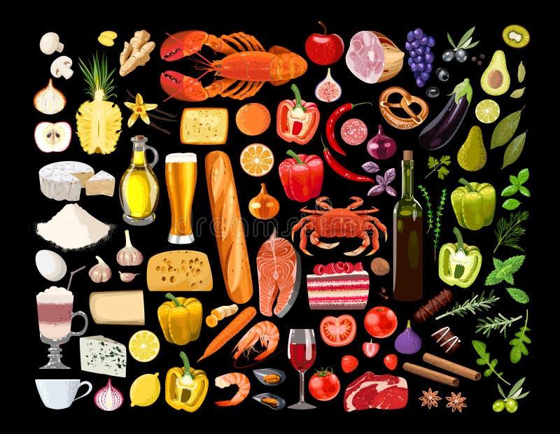Big set of food vector illustration