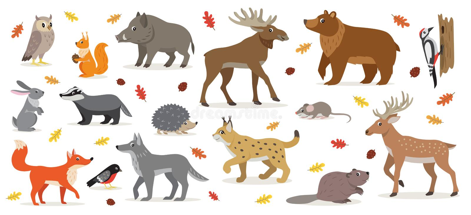 Big set of forest woodland animals isolated vector illustration. Big set of forest woodland animals isolated on white, owl, squirrel, hare, bear, fox, wolf stock illustration