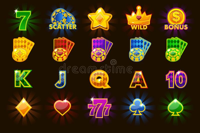 Big set gaming icons of card symbols for slot machines or casino in different colors Game casino, slot, UI. Vector big set gaming icons of card symbols for slot vector illustration