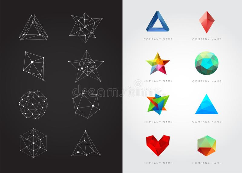 Big Set of Geometric Shapes Unusual and Abstract. Vector Logo. vector illustration