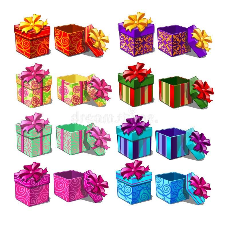 Big set of gift boxes isolated on white background. Vector cartoon close-up illustration. Big set of gift boxes isolated on white background. Vector cartoon stock illustration