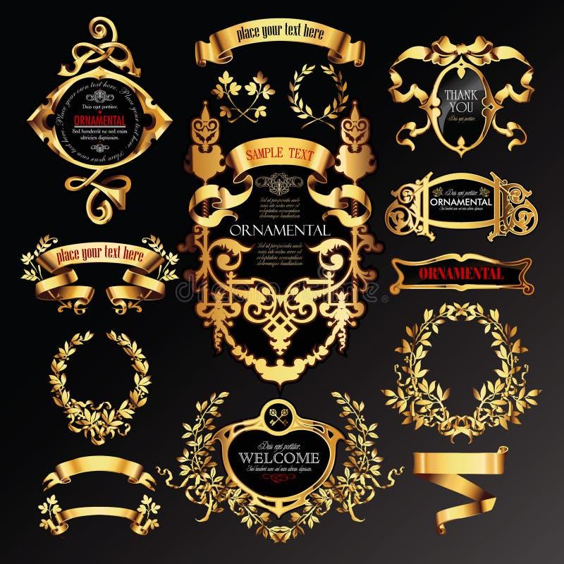 Big set of golden labels vector illustration