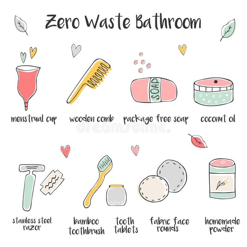 Big set of hand drawn icons for zero waste bathroom. Big set of hand drawn zero waste icons for bathroom royalty free illustration