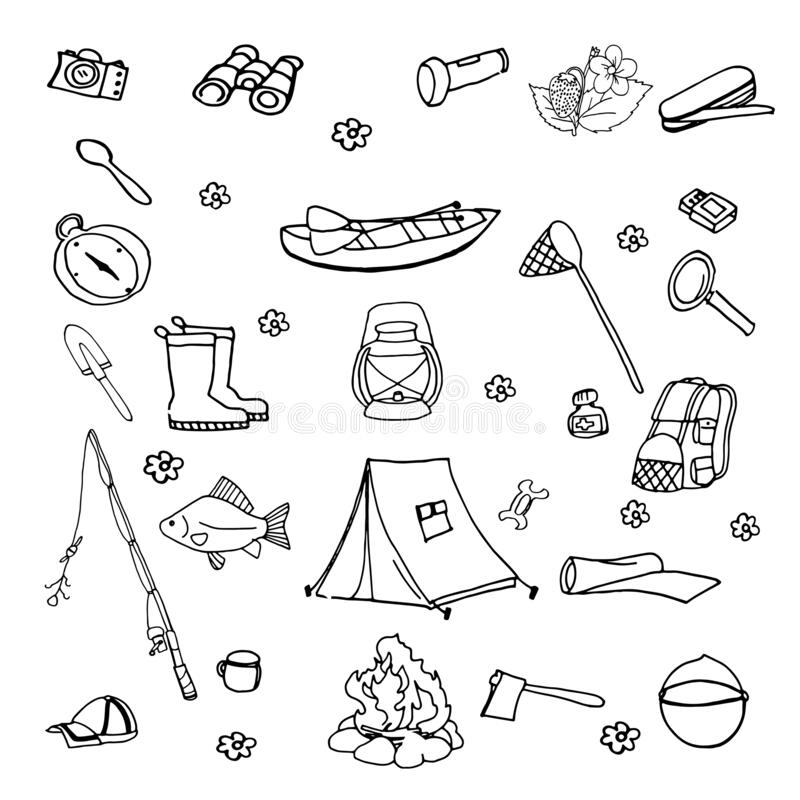 Big set hand drawn summer tourism doodle with tent, fishing rod,backpack. Vector travel illustrations on the white background vector illustration