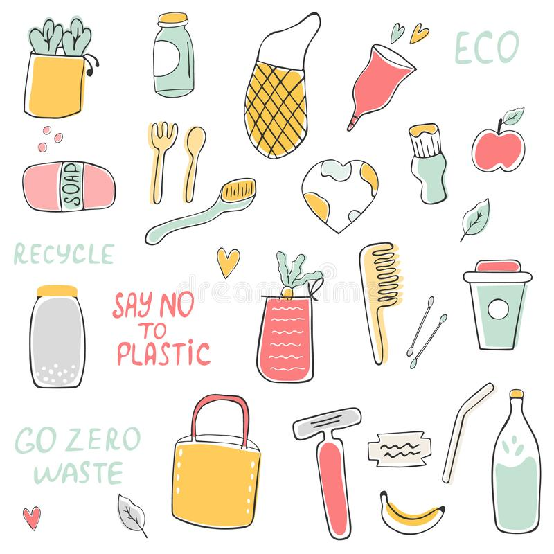 Big set of hand drawn zero waste icons. Canvas bags, glass bottle, jars, reusable cups, wooden cutlery, bamboo comb, linen towels vector illustration