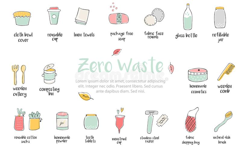 Big set of hand drawn zero waste icons. Canvas bags, glass bottle, jars, reusable cups, wooden cutlery, bamboo comb, linen towels stock illustration