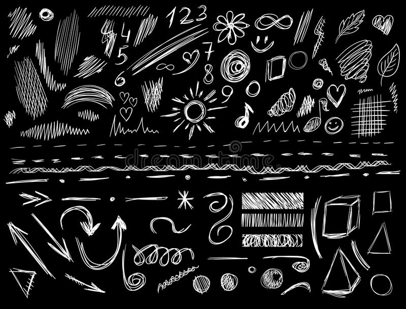 Big set of 105 hand-sketched design elements, VECTOR illustration isolated on black. White scribble lines. Big set of 105 hand-sketched design elements, pen royalty free illustration