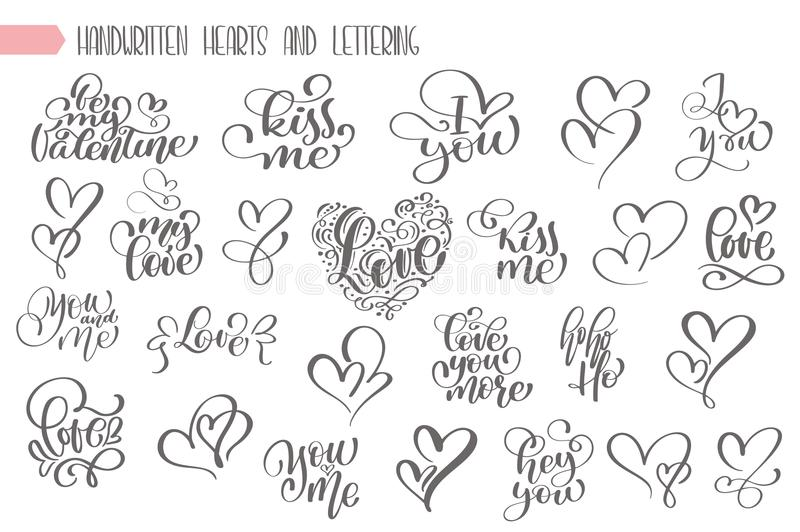 Big set hand written lettering about love to valentines day and heart design poster, greeting card, photo album, banner vector illustration