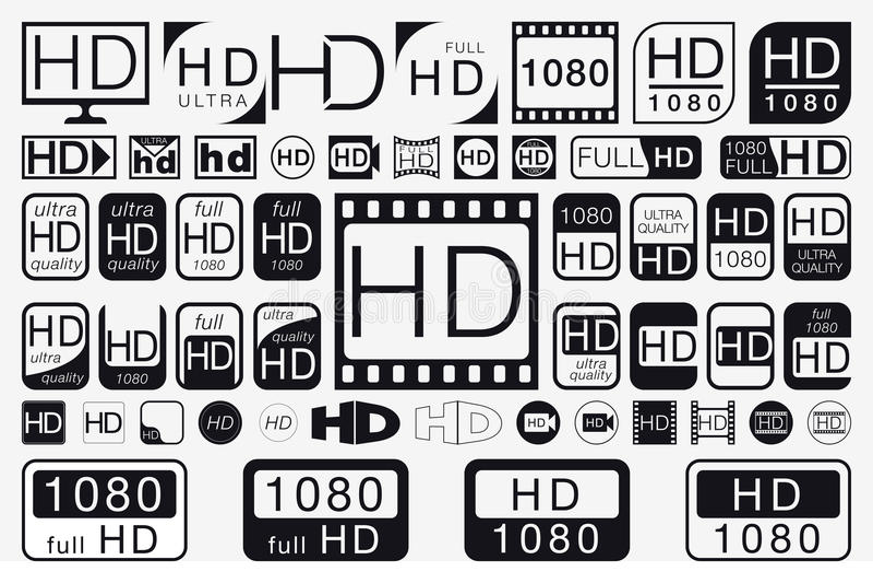 Big Set HD Icons. HD Labels royalty free illustration