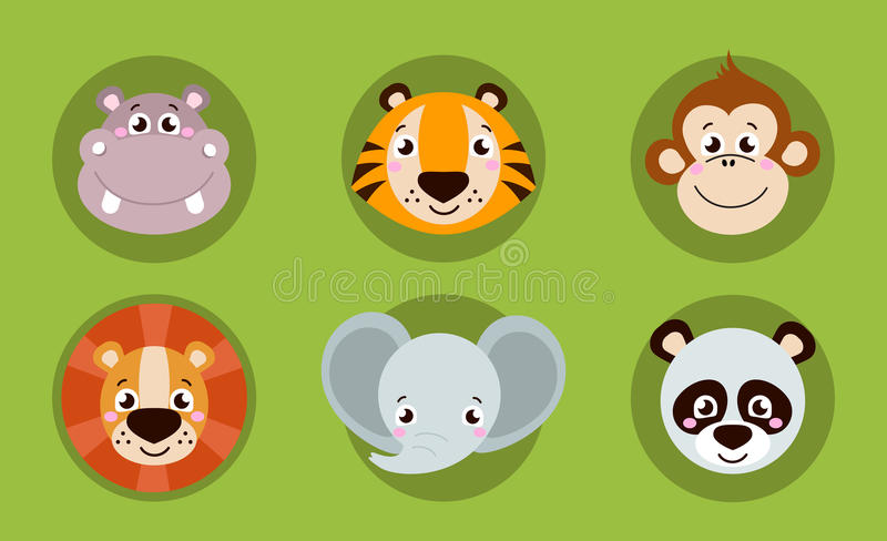 Big set head of animals icons. Vector collection funny face of animals. vector illustration