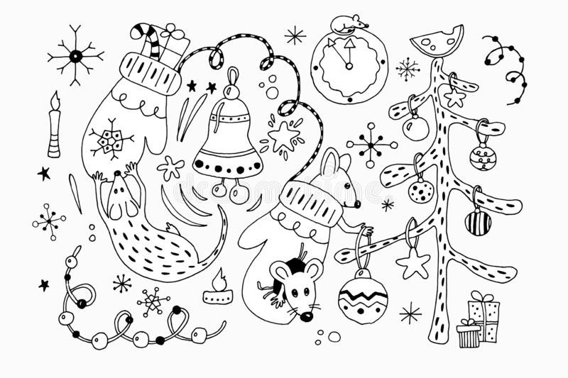 Big set of Hygge icons. Hand drawn vector illustration in scandinavian style. Winter, Cristmas and New Year elements for royalty free illustration
